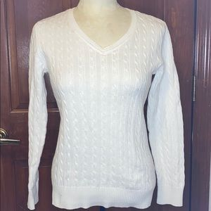 Karen Scott white cable knit v neck sweater Sz S